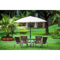 Jogo Mesa E Cadeiras Em Fibra Sintética Com Guarda Sol