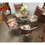 Conjunto De Mesa Circular E 4 Cadeiras Junco Rattan Varanda