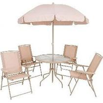 Conjunto Jardim Malibu Bege Mor-mesa C/guarda-sol+4 Cadeiras