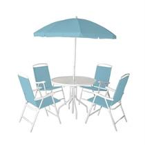 Jogo 4 Cadeiras Guarda Sol Mesa Piscina Praia Azul Bel 86100