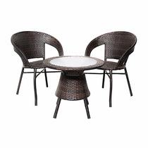 Conjunto Garden Rattan Mesa + 2 Cadeiras Varanda Sacada