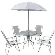 Jogo Jardim 4 Cadeira Ombrelone Mesa Leblon Branco Bel 88700