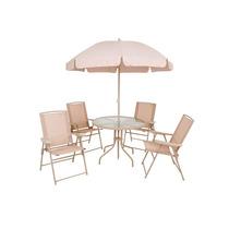 Conjunto De Jardim Malibu 4 Cadeira, Mesa E Guarda-sol - Mor