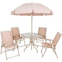 Kit Jardim C/ Mesa 4 Cadeiras E 1 Guarda-sol Bege Malibu Mor