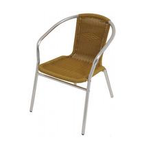 Cadeira Poltrona Mor Rattan Bege Para Jardim Em Alumínio