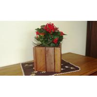 Conjunto De 4 Unid. Cachepô \ Vaso Planta Rústico Em Madeira