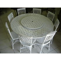 Jogo Giratório 1,50 Alumínio Com 8 Cadeiras Bambú