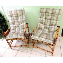 Jogo De 2 Cadeiras De Bambu Para Ambiente Externo