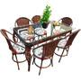 Conjunto De Mesa De Jantar E 6 Cadeiras Varanda Rattan Junco