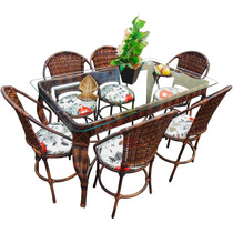 Conjunto De Mesa De Jantar E 6 Cadeiras Varanda Junco Rattan
