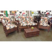 Conjunto De Cadeiras Nova Delhi 3 Peças Varanda Junco Rattan