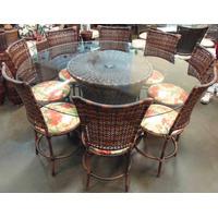 Conjunto De Mesa Circular E 8 Cadeiras Rattan Junco Ferro