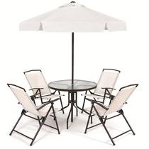 Conjunto Jardim Miami C/ Mesa 4 Cadeiras + Ombrelone