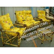 Cadeiras+ Sofá Em Bambu/ Vime/ Cana Da Índia Jogo Completo