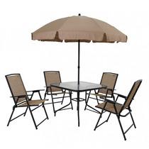 Conjunto Jardim Acapulco Mor Com Mesa+guarda-sol+4 Cadeiras