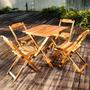 Conjunto De Mesa E 4 Cadeiras Dobráveis Em Madeira De Teca