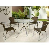 Mesa + 4 Cadeiras De Alumínio Em Fibra De Junco Sintético