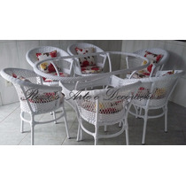 Conjunto De Mesas 6 Cadeiras Para Jardim, Sala, Varanda