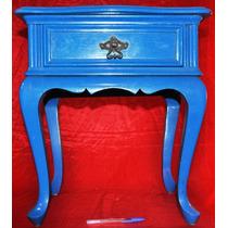 Antigo Criado Mudo Provençal Em Madeira Ótimo Estado Azul
