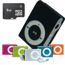 Kit C/ 3 Mp3 Fm Player Shuflle Clip C/ Cartão Micro Sd 8gb