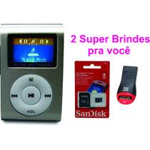 Mini Mp3 Fm Player Shuflle Clip C/ Cartão Micro Sd 8gb Brind