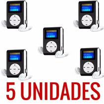 Kit Com 5 Unid Mp3 Player Clip Fm + Cabo Usb + Fone Ouvido