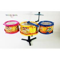 Bateria Infantil Intrumento Musical Tambor, Prato E Baquetas
