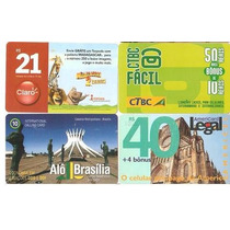Q5 - Lote 4 Cartões Pré-pagos Diferentes - Raros - Usados