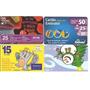 F98 - Lote Com 4 Cartões Pré-pagos Diferentes, Raros, Usados