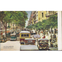 Postal Antigo, Avenida Rio Branco, Rio De Janeiro. Carros