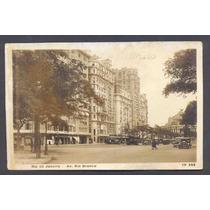 Cartão Postal Rio De Janeiro Av. Rio Branco Bonde P/ Ipanema