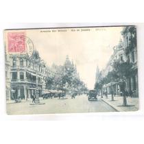 Rj111 Postal Circulado 1921 Rio De Janeiro, Av. Rio Branco.