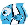Touca De Natação Infantil Azul - Peixinhos - Silicone