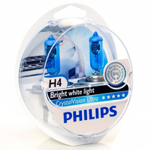 Super Brancas Lâmpadas 55w H4 Philips Crystral Vision Ultra