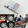 12 Canetas Tinta Pintar Pneu Carro Moto Triciclo Cor Branco