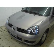 Farol Renault Clio 2003 Até 2012 Mascará Negra Led + Xenon