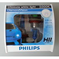 Lampada Diamond Vision Phillips H11 5000k Efeito Xenon Hid