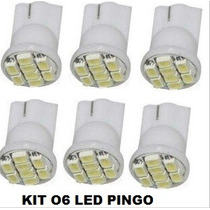 Kit 06 Lampada Automotivo Pingo Super Branca T10 8 Leds