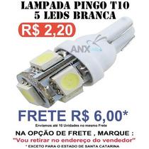 Lampada Pingo T10 5 Leds Smd 5050 - W5w - Branco Xenon