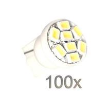 Kit Com 100 Lampadas Modelo Pingo T10 - 8 Leds Super Branca
