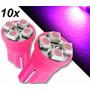 Kit 10 Lâmpadas Pingo T10 194 W5w 4 Led Smd Rosa Pink Roxo
