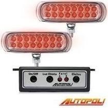 Milha Strobo Safetycar Slim - 16 Leds Vermelho Corpo Preto