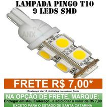 Lampada Pingo Xenon Farol 9 Leds 5050 T10 Super Branca W5w