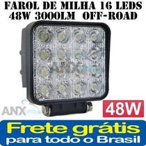 Farol De Milha 16 Leds 48w 3000lm 12/24v Off-road
