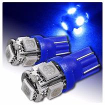 Par Lampada Pingo Azul 5leds 5w T10 Xenon Farol Luz Farolete
