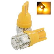 Par Lampada Pingo T10 (w5w) Com 5 Leds 5050 Na Cor Amarelo