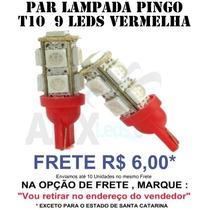Par Pingo T10 9 Leds Smd 5050 Vermelha ( W5w )