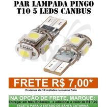Par Lampada Pingo T10 5 Smd 5050 Canbus Canceller -branca