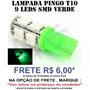 Lâmpada Pingo T10 W5w 9 Leds Verde (smd) 12v Frete 6,00