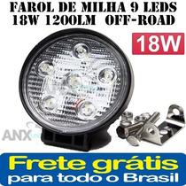 Farol De Milha 6 Leds 18w 1200lm 12/24v Off-road